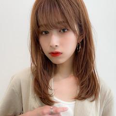 デジタルパーマ セミロング フェミニン 大人可愛い ヘアスタイルや髪型の写真・画像