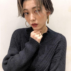 ショート 韓国 ハイライト 韓国風ヘアー ヘアスタイルや髪型の写真・画像