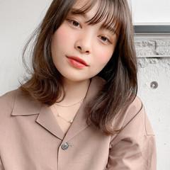 ミディアム シースルーバング ウルフカット デジタルパーマ ヘアスタイルや髪型の写真・画像