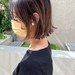 ミニボブ ボブ グラデーションカラー ナチュラル ヘアスタイルや髪型の写真・画像
