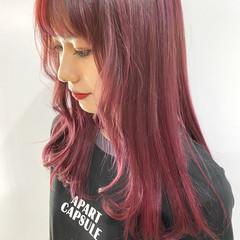 ガーリー ピンク ベリーピンク ロング ヘアスタイルや髪型の写真・画像