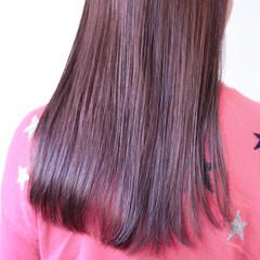 パープルカラー ナチュラル ロング ピンクパープル ヘアスタイルや髪型の写真・画像