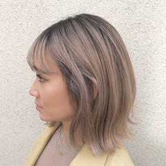 バレイヤージュ インナーカラー ボブ グラデーションカラー ヘアスタイルや髪型の写真・画像