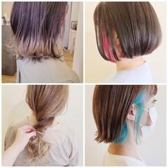 インナーカラー ボブ ハイライト ブリーチ必須 ヘアスタイルや髪型の写真・画像