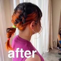 モード セミロング オレンジ アプリコットオレンジ ヘアスタイルや髪型の写真・画像