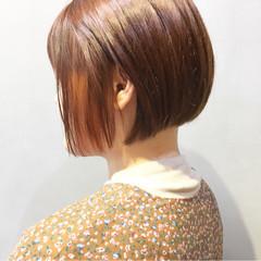 ストリート オレンジ アプリコットオレンジ オレンジブラウン ヘアスタイルや髪型の写真・画像