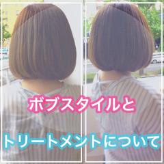 ショートボブ 髪質改善カラー ボブ ナチュラル ヘアスタイルや髪型の写真・画像