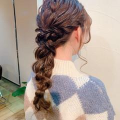 簡単ヘアアレンジ お呼ばれヘア ロング 編みおろしヘア ヘアスタイルや髪型の写真・画像
