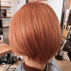 モカベージュ ショート ショートヘア ピンク ヘアスタイルや髪型の写真・画像
