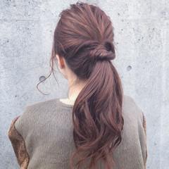 グレージュ ヘアアレンジ ロング 簡単ヘアアレンジ ヘアスタイルや髪型の写真・画像
