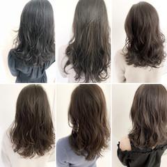 ロング デジタルパーマ グレージュ イルミナカラー ヘアスタイルや髪型の写真・画像