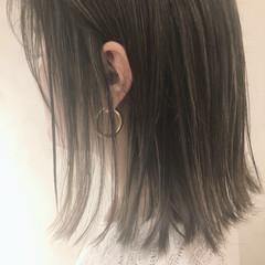 地毛ハイライト ボブ ナチュラル 大人ハイライト ヘアスタイルや髪型の写真・画像