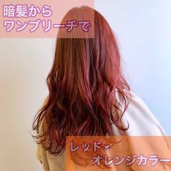 ロングヘア ガーリー オレンジ ブリーチカラー ヘアスタイルや髪型の写真・画像