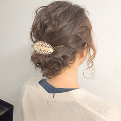 簡単ヘアアレンジ オフィス ナチュラル 結婚式 ヘアスタイルや髪型の写真・画像