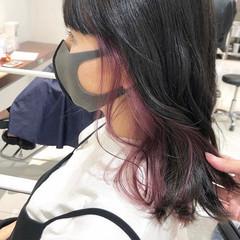 インナーカラー ピンク インナーピンク フェミニン ヘアスタイルや髪型の写真・画像