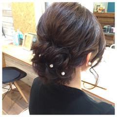 パールアクセ セミロング アップスタイル ヘアアレンジ ヘアスタイルや髪型の写真・画像