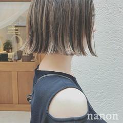 デートヘア ハイライト ボブ モード ヘアスタイルや髪型の写真・画像