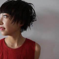 ポニーテール ミディアム ガーリー 簡単ヘアアレンジ ヘアスタイルや髪型の写真・画像