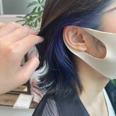 インナーカラー ネイビーブルー イヤリングカラー ボブ ヘアスタイルや髪型の写真・画像