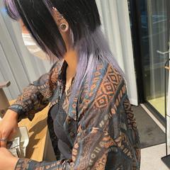 ストリート 黒髪 インナーラベンダー ウルフカット ヘアスタイルや髪型の写真・画像