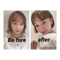 ハイトーンカラー フェミニン ハイトーンボブ ショートボブ ヘアスタイルや髪型の写真・画像
