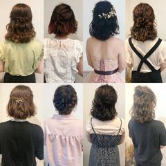 ヘアセット 編み込み ボブ フェミニン ヘアスタイルや髪型の写真・画像