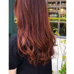 レッド ロング ナチュラル オレンジ ヘアスタイルや髪型の写真・画像