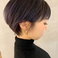 小顔ショート パープルカラー ショート トワイライトパープル ヘアスタイルや髪型の写真・画像