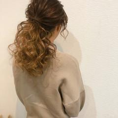 ブライダル ポニーテール ローポニー セミロング ヘアスタイルや髪型の写真・画像