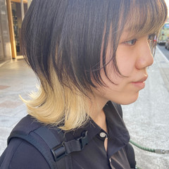 ニュアンスウルフ レイヤースタイル マッシュウルフ ヌーディベージュ ヘアスタイルや髪型の写真・画像