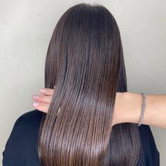 艶カラー 艶髪 セミロング ナチュラル ヘアスタイルや髪型の写真・画像