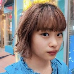 ボブ オレンジブラウン オレンジカラー フェミニン ヘアスタイルや髪型の写真・画像