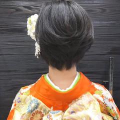 ショート 成人式 ナチュラル かき上げ前髪 ヘアスタイルや髪型の写真・画像