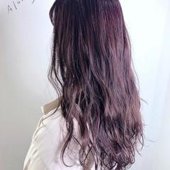 ラベンダーピンク フェミニン ロング ピンクラベンダー ヘアスタイルや髪型の写真・画像