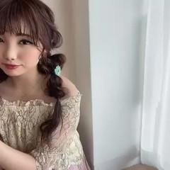 編みおろしツイン ヘアアレンジ フェミニン 編みおろし ヘアスタイルや髪型の写真・画像