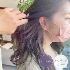 インナーカラー インナーカラーパープル ロング バイオレット ヘアスタイルや髪型の写真・画像