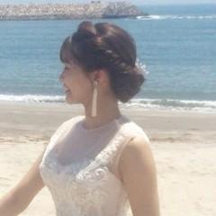 ヘアアレンジ 花嫁 セミロング ふわふわヘアアレンジ ヘアスタイルや髪型の写真・画像