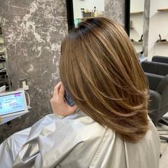 バレイヤージュ ミディアム ストリート 外国人風カラー ヘアスタイルや髪型の写真・画像