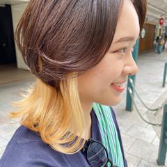 ナチュラル インナーカラー ブリーチカラー ナチュラルウルフ ヘアスタイルや髪型の写真・画像