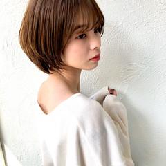耳掛けショート ショート 髪質改善カラー ショートボブ ヘアスタイルや髪型の写真・画像