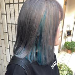 ミディアム ストリート ダブルカラー インナーカラー ヘアスタイルや髪型の写真・画像