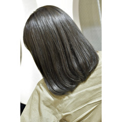 モード オリーブカラー ボブ 韓国ヘア ヘアスタイルや髪型の写真・画像