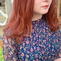 オレンジブラウン アプリコットオレンジ オレンジ ガーリー ヘアスタイルや髪型の写真・画像