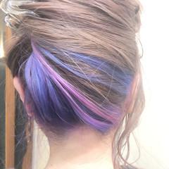 ユニコーンカラー ミディアム グラデーションカラー ハイライト ヘアスタイルや髪型の写真・画像