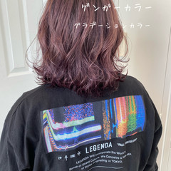 ラベンダーアッシュ ピンクラベンダー ミディアム ラベンダーカラー ヘアスタイルや髪型の写真・画像