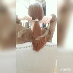涼しげアレンジ セルフヘアアレンジ ナチュラル ロング ヘアスタイルや髪型の写真・画像