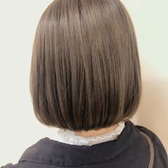 グレージュ ミルクティー ミルクティーベージュ ボブ ヘアスタイルや髪型の写真・画像