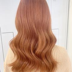 ナチュラル ピンクパープル オレンジベージュ ミディアム ヘアスタイルや髪型の写真・画像