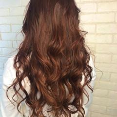 ブリーチなし ガーリー ロング オレンジ ヘアスタイルや髪型の写真・画像