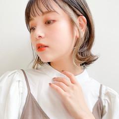 小顔ヘア 透明感 ミディアム シースルーバング ヘアスタイルや髪型の写真・画像